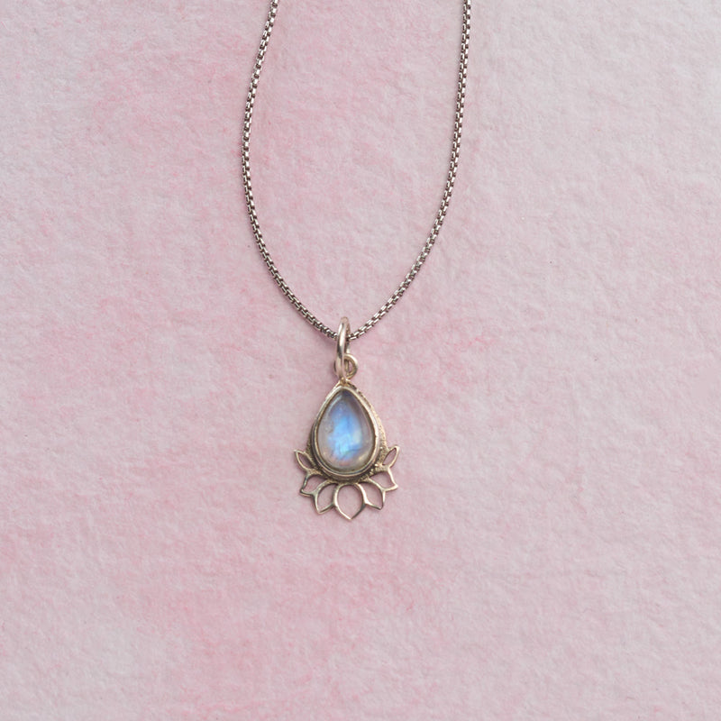 Rainbow Moonstone Lotus Necklace