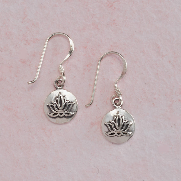 Cast Sterling Silver Lotus Earrings