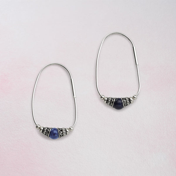 Sterling Silver and Lapis Hoop Earrings