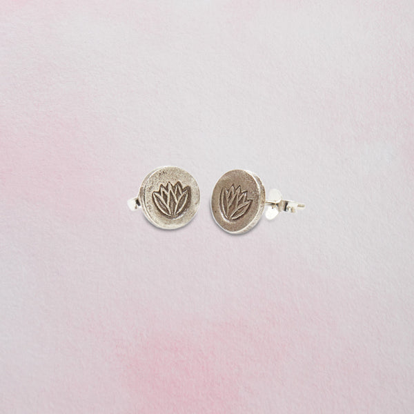 Thai Silver Lotus Earrings