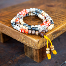 Multicolored Buffalo Bone Mala, 108 beads