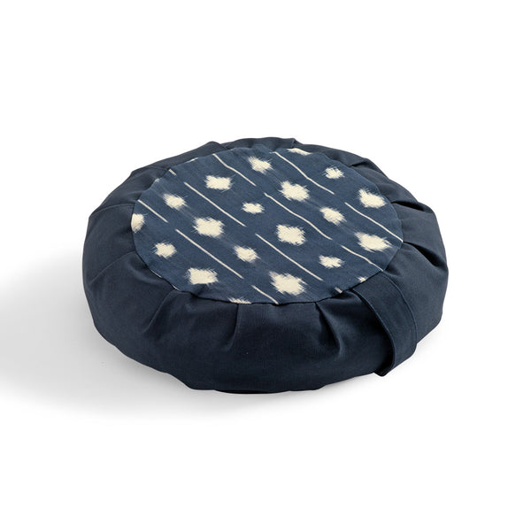 Buckwheat Hull IKAT Zafu, Dark Indigo with Dots