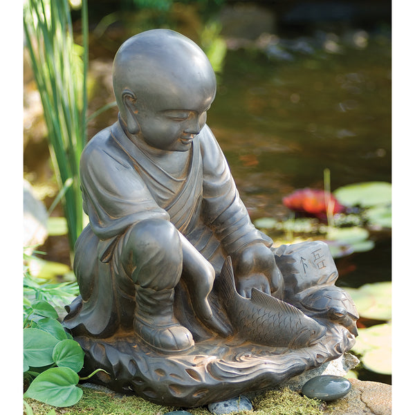 'May All Beings Be Free' Garden Monk Statue, Large