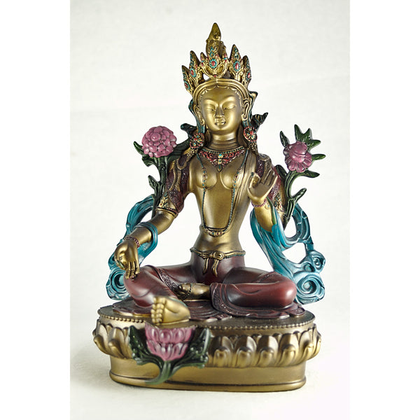 Hand Painted Green Tara Statue