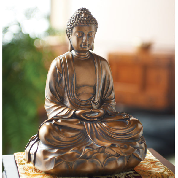 Buddha on Lotus Throne, Bronze Finish