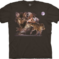 Arapaho Moon Wolf Adults T-Shirt