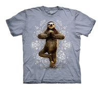Namaste Sloth Adults T-Shirt (Blue Grey)