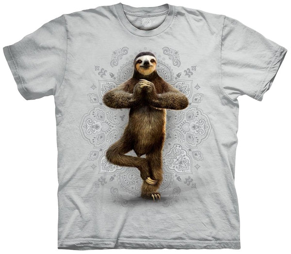 Namaste Sloth Adults T-Shirt (Grey White)