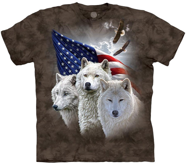 Patriotic Wolves Adults T-Shirt