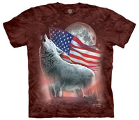 Patriotic Lights Wolf Adults T-Shirt