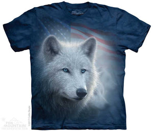 Patriotic White Wolf Adults T-Shirt