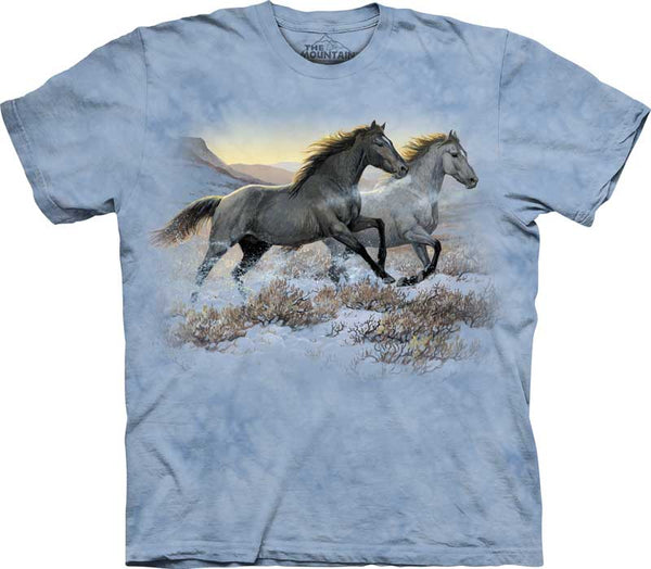 Horses Running Free Adults T-Shirt