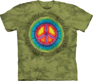 Retro Peace Symbol Tie Dye Adults T-Shirt