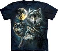 Moon Wolves Collage Adults Wolf T-Shirt