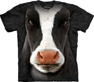 Black Cow Face Adults T-Shirt