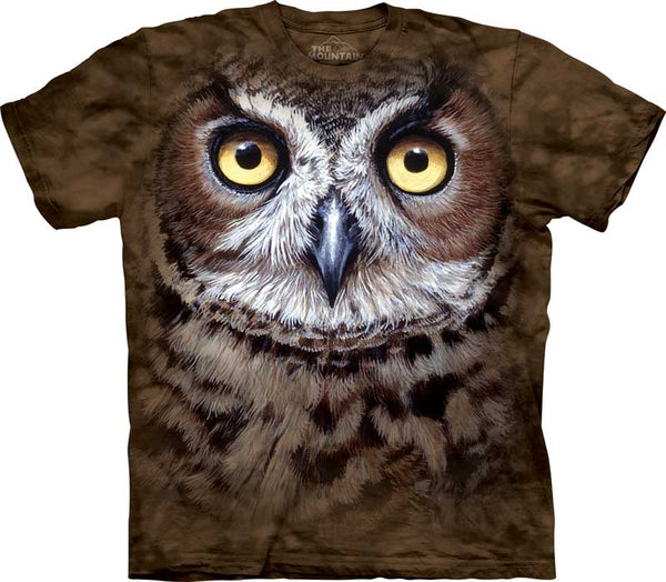 Great Horned Owl Face Adults T-Shirt