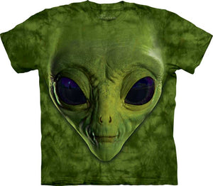 Green Alien Face Adults T-Shirt