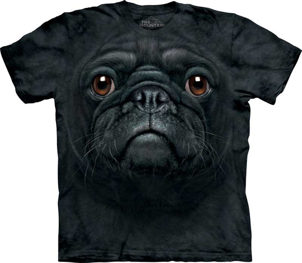 Black Pug Dog Face Adults T-Shirt
