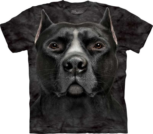 Black Pitbull Head Adults T-Shirt