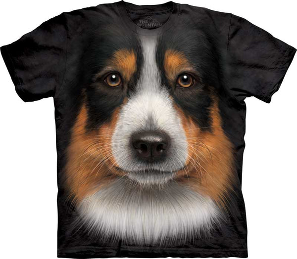 Australian Shepherd Dog Face Adults T-Shirt