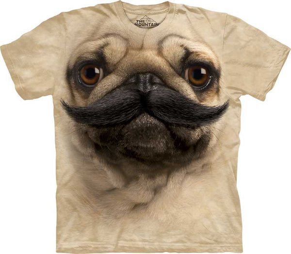 Big Face Pugstache Adults T-Shirt - Size USA XL