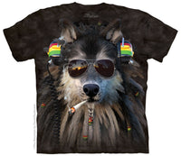 Smoking Rasta Wolf Adults T-Shirt