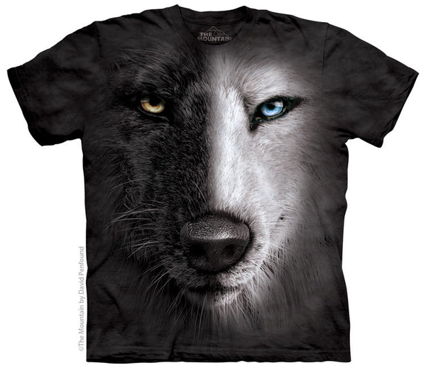 Black & White Wolf Face Adults T-Shirt