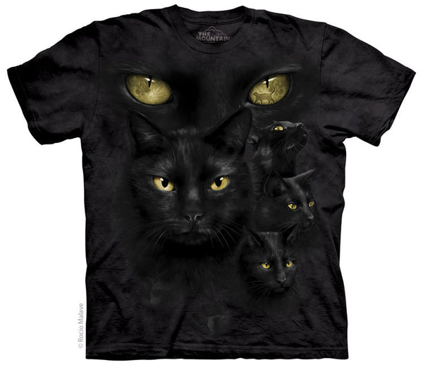 Black Cat Moon Eyes Adults T-Shirt