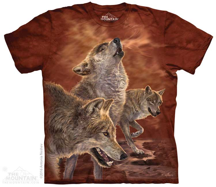 Red Glow Wolves Adults T-Shirt