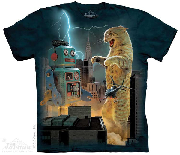Catzilla Vs Robot Adults Cat T-Shirt