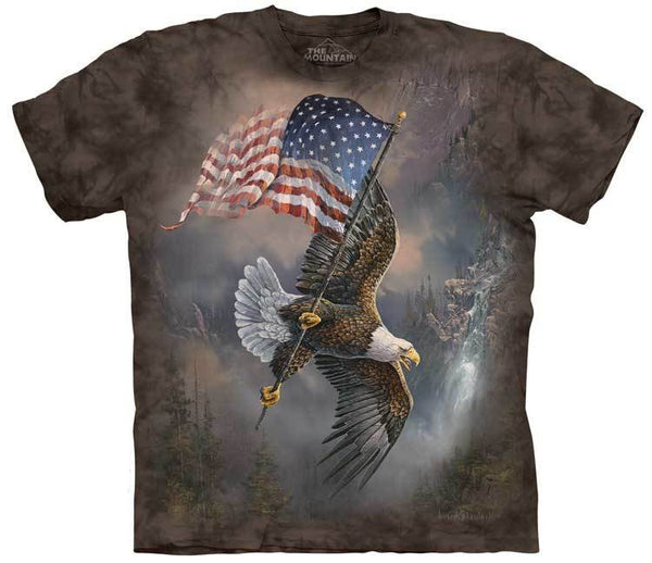 Flag Bearing Eagle Adults T-Shirt