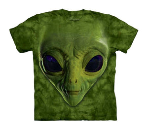 Green Alien Face Childrens T-Shirt