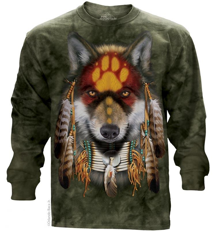 Native Wolf Spirit Adults Long Sleeve T-Shirt