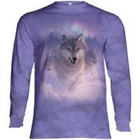 Northern Lights Wolf Adults Long Sleeve T-Shirt