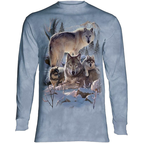 Wolf Family Mountain Adults Long Sleeve T-Shirt