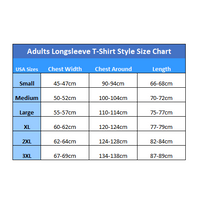 The Mountain Longsleeve Tees Size Chart (Adults Unisex Style)