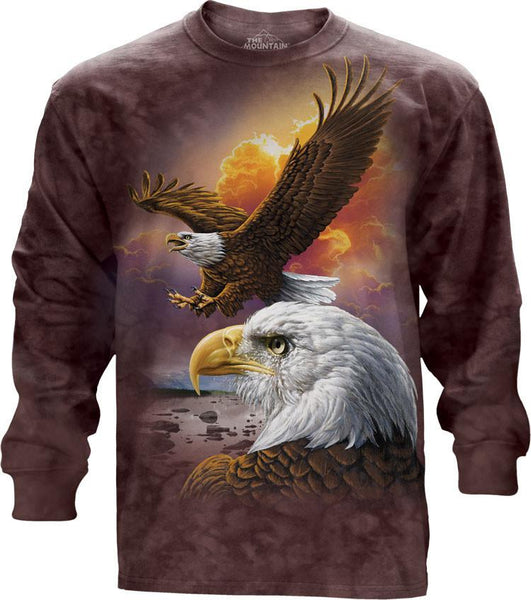 Eagle and Clouds Adults Long Sleeve T-Shirt
