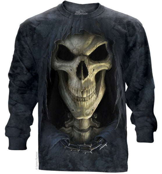 Death Face Grim Reaper Adults Long Sleeve T-Shirt