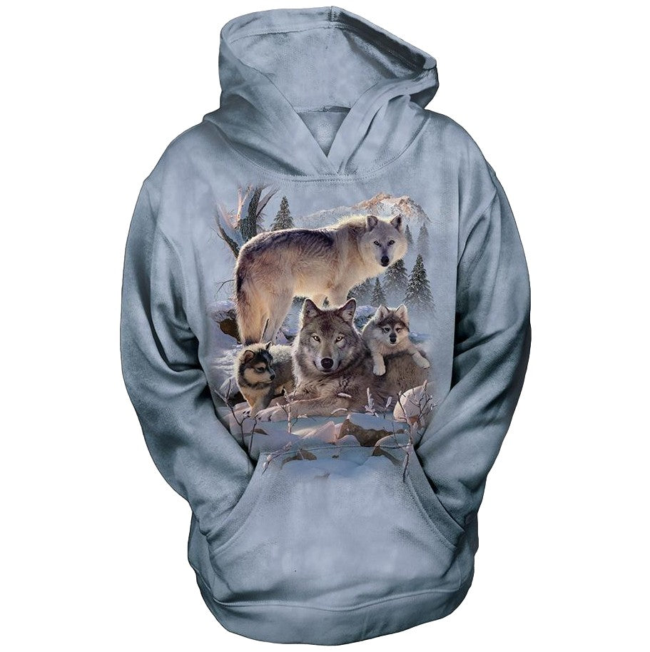 Wolf Family Mountain Childrens Hoodie