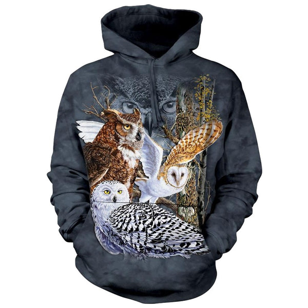 Find 11 Owls Adults Hoodie
