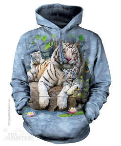 White Tigers of Bengal Adults Hoodie