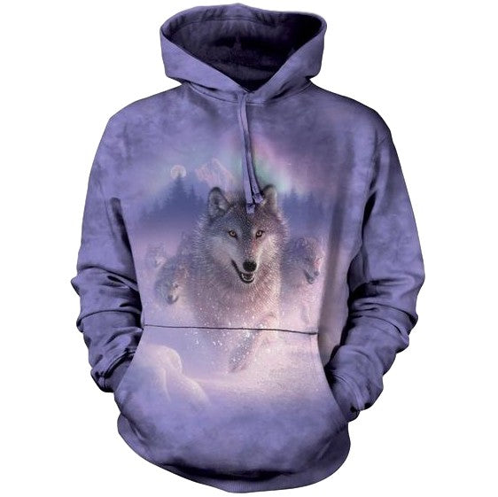 Northern Lights Wolf Adults Hoodie