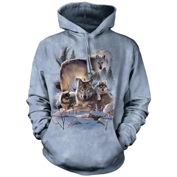 Wolf Family Mountain Adults Hoodie