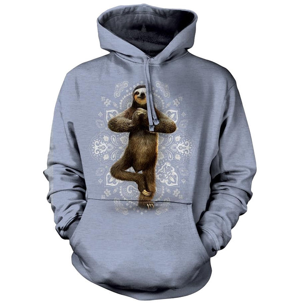 Namaste Sloth Adults Hoodie (Blue Grey)