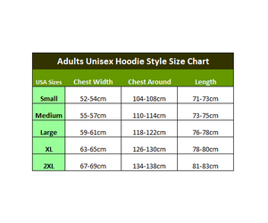 The Mountain Hoodies Size Chart (Adults Unisex Style)