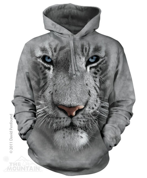 White Tiger Face Adults Hoodie