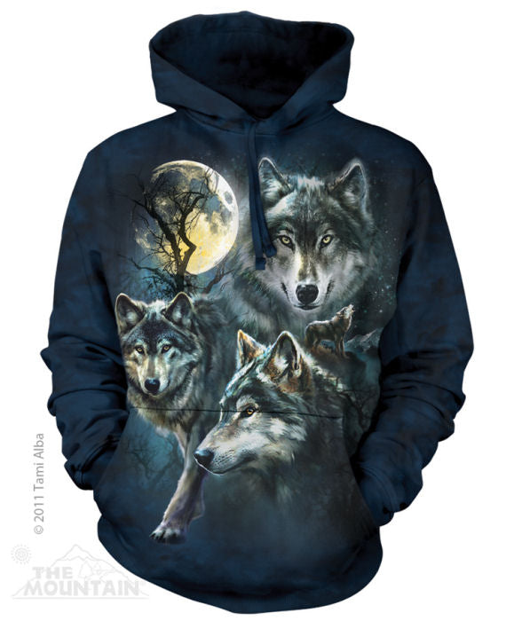 Moon Wolves Collage Adults Hoodie
