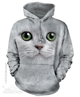 Green Eyes Kitten Face Adults Hoodie
