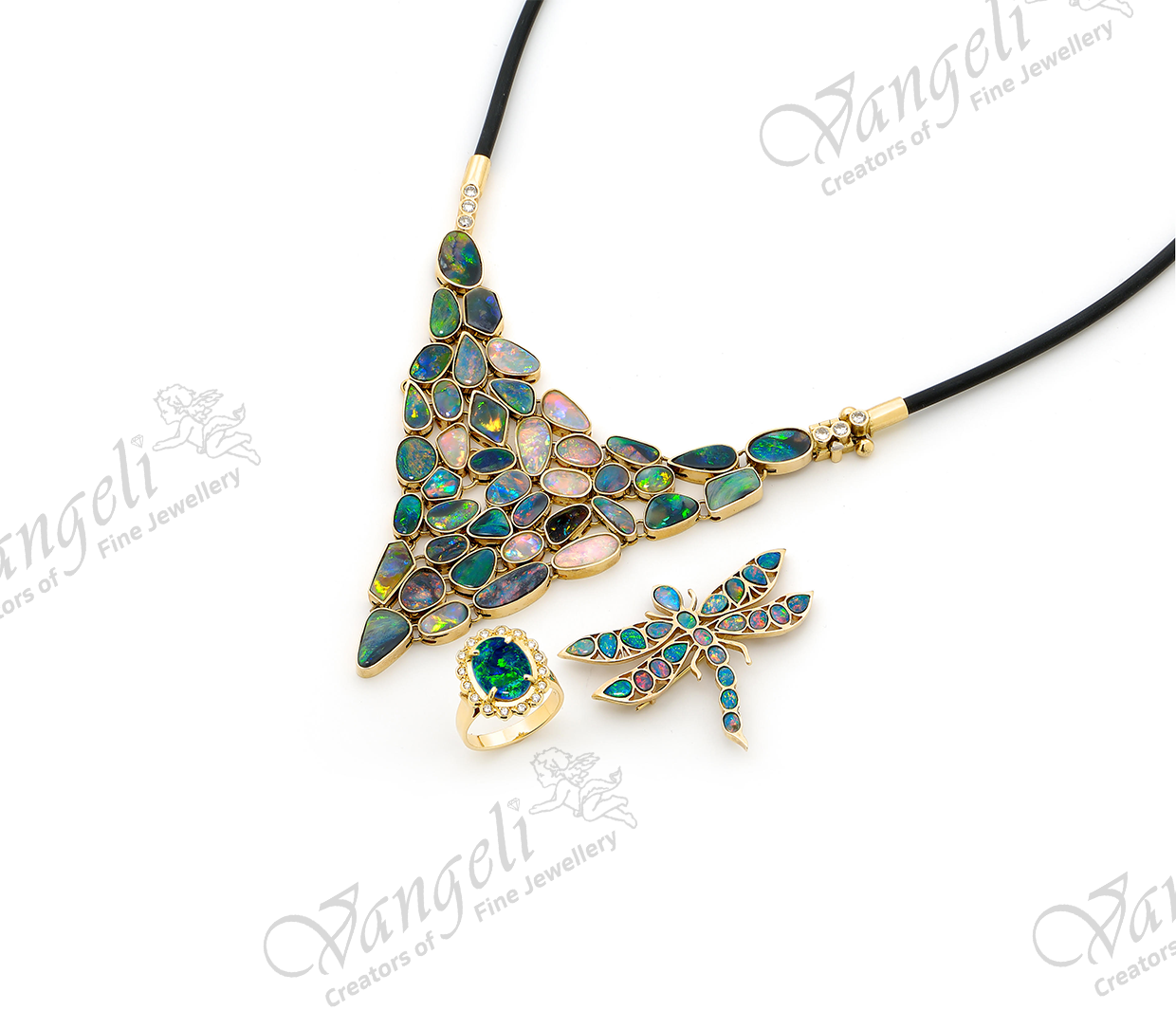 Award winning solid black opal 18ct yellow gold and diamond necklace with opal ring and dragon fly brooch