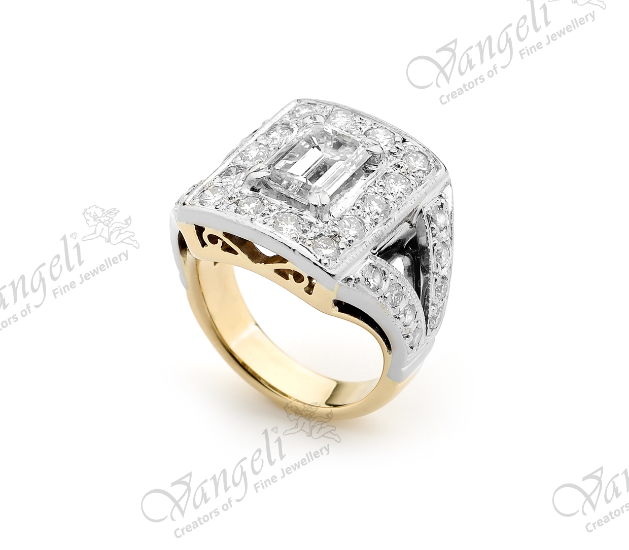 18ct custom designed hand-made yellow and white gold diamond ring with emerald cut centre diamond.